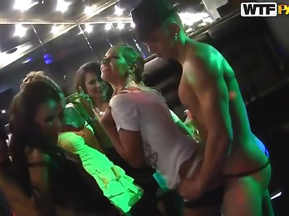 Sexy Russian lesbians fucking in be imparted to murder strip club!