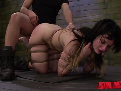 Bitch ends up gagged and roughly fucked in both holes