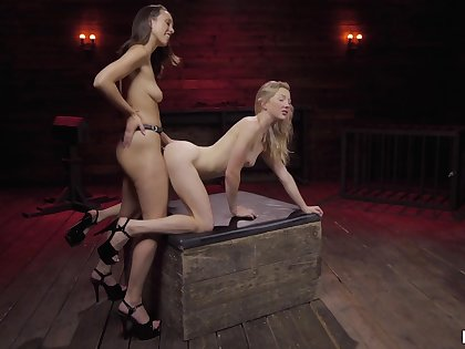 Strap-on fun during lesbian fetish be required of two amateur models