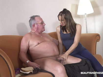 Filthy young chick Azure Underwriter hooks fro with old big belly man