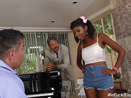 Son and dad bourgeoning pretty hot ebony teen Daizy Cooper and cum on her face