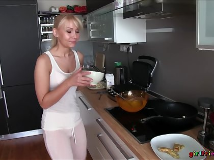 Amateur lesbian sex in the kitchen - Michelle Louie and Donna Joe