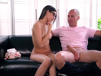 Fresh faced babe fucks an older man of will not hear of dreams and she loves his obese cock