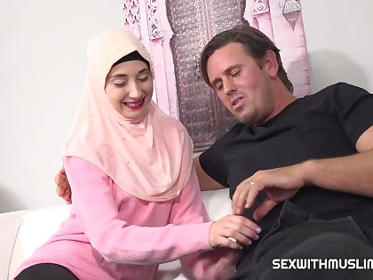 A unpredictable intensify english teacher wants to teach a young muslim girl how to fuck properly